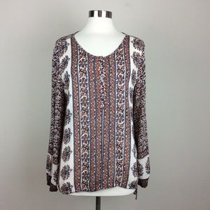Lucky Brand floral and paisley popover tunic